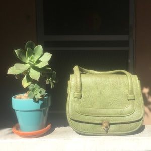 VINTAGE green leather purse